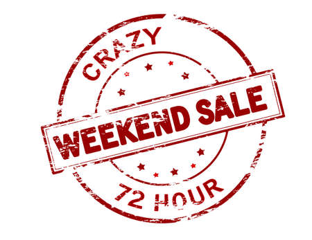 seventy two: Rubber stamp with text crazy weekend sale inside, vector illustration