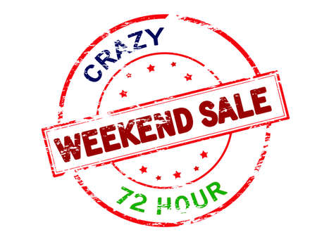 reckless: Rubber stamp with text crazy weekend sale inside, vector illustration
