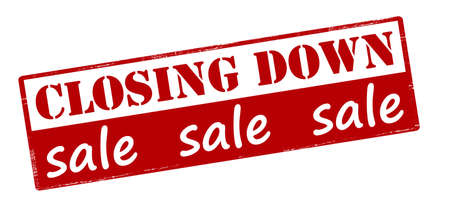 closing: Rubber stamp with text closing down sale inside, vector illustration