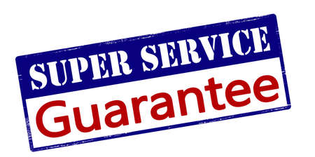 surety: Rubber stamp with text super service guarantee inside, vector illustration Illustration