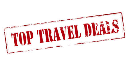 dealings: Rubber stamp with text top[ travel deals inside, vector illustration