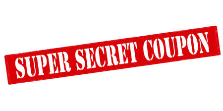 remnant: Rubber stamp with text super secret coupon inside, vector illustration