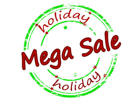 holidays vacancy: Rubber stamp with text holiday mega sale inside, vector illustration Illustration