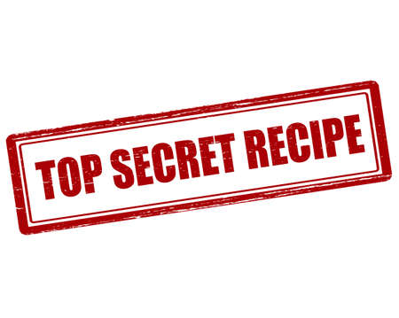 undisclosed: Rubber stamp with text top secret recipe inside, illustration Illustration