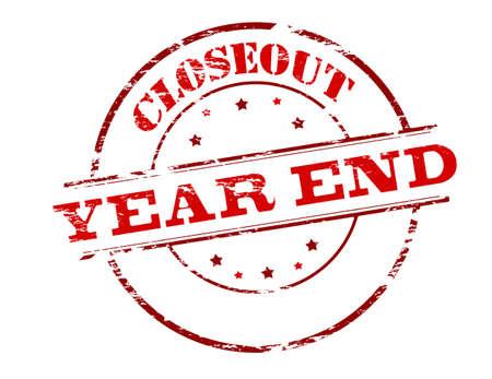 Timbro di gomma con la fine dell'anno il testo closeout dentro, illustrazione Vettoriali