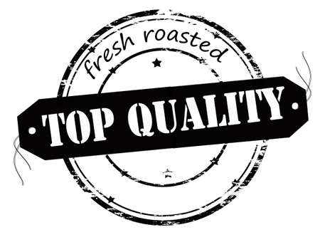top class: Rubber stamp with text fresh roasted top quality inside, illustration Illustration