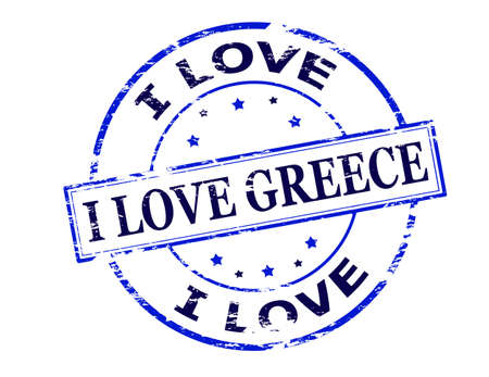 affair: Rubber stamp with text i love Greece inside, vector illustration