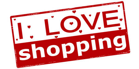 love affair: Rubber stamp with text i love shopping inside, vector illustration Illustration