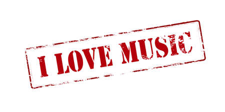 affair: Rubber stamp with text i love music inside, vector illustration