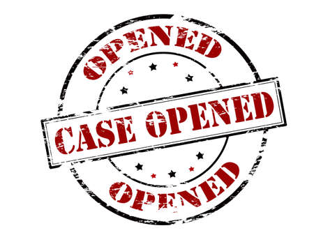 occurrence: Rubber stamp with text case opened inside, vector illustration