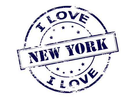 内、ベクトル図のテキスト ニューヨークとゴム印  イラスト・ベクター素材