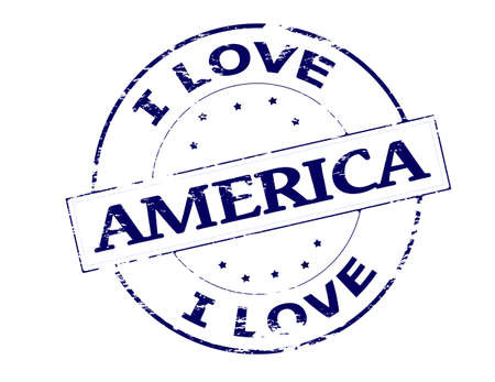 love affair: Rubber stamp with text I love America inside, vector illustration