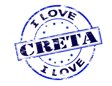 love stamp: Rubber stamp with text i love Creta inside, vector illustration
