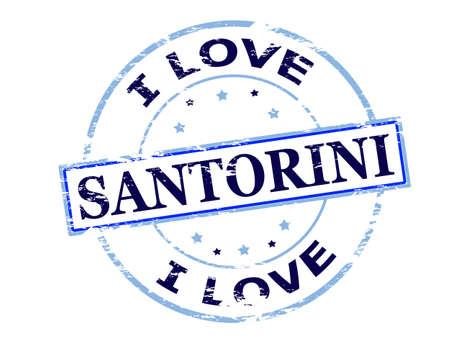 santorini: Rubber stamp with text i love Santorini inside, vector illustration