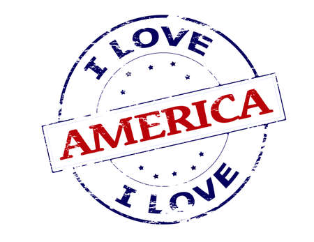 fondness: Rubber stamp with text i love America inside, vector illustration Illustration
