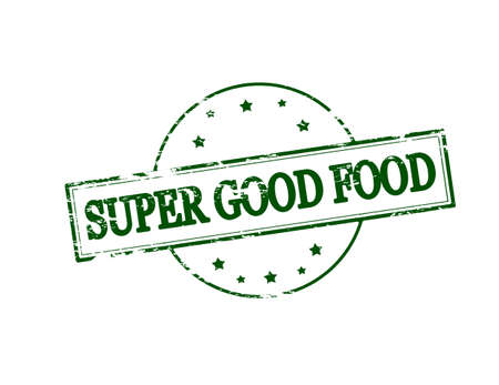 chow: Rubber stamp with text super good food inside, vector illustration
