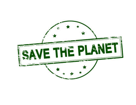 terra: Rubber stamp with text save the planet inside, vector illustration Illustration
