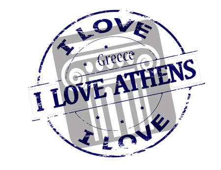 endear: Rubber stamp with text i love Greece inside, vector illustration