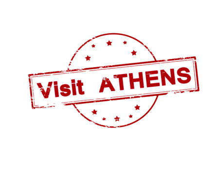 athens: Rubber stamp with text visit Athens inside, vector illustration Illustration