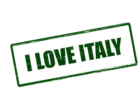 love stamp: Rubber stamp with text i love Italy inside, vector illustration Illustration