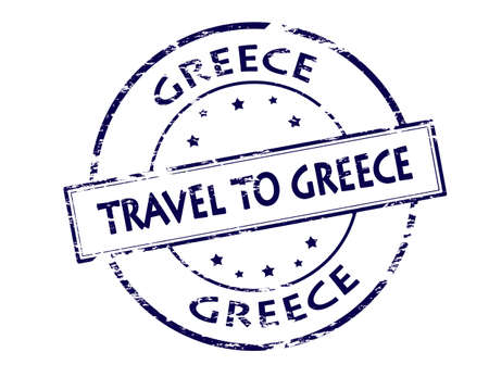 fare: Rubber stamp with text travel to Greece inside, vector illustration