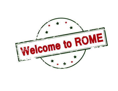 seasonable: Rubber stamp with text welcome to Rome inside, vector illustration