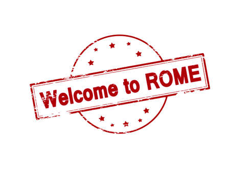 Rubber stamp with text welcome to Rome inside, vector illustration