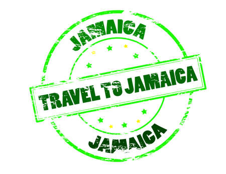 fare: Rubber stamp with text travel to Jamaica inside, vector illustration Illustration