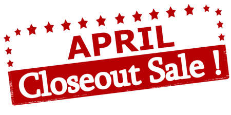 closeout: Rubber stamp with text April closeout sale inside, vector illustration