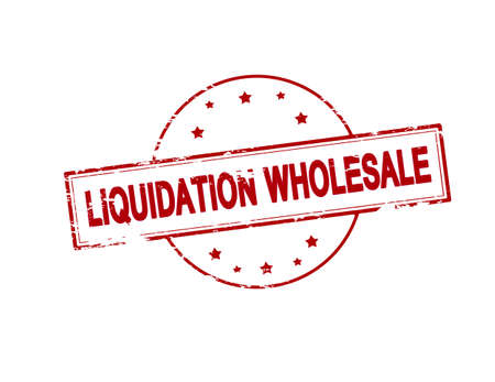 wholesale: Rubber stamp with text liquidation wholesale inside, vector illustration