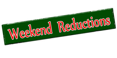 rebate: Rubber stamp with text weekend reductions inside, vector illustration Illustration