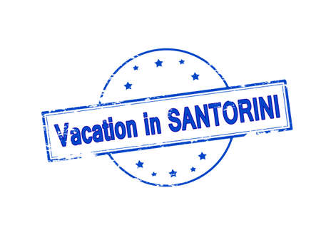 santorini: Rubber stamp with text vacation in Santorini inside, vector illustration Illustration