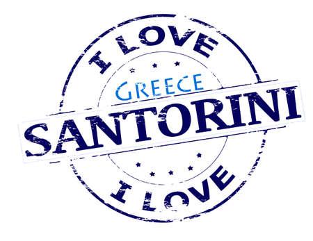 fondness: Rubber stamp with text i love Santorini inside, vector illustration