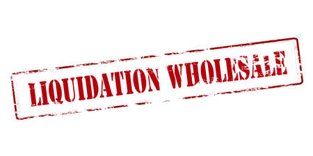 Rubber stamp with text liquidation wholesale inside, vector illustration