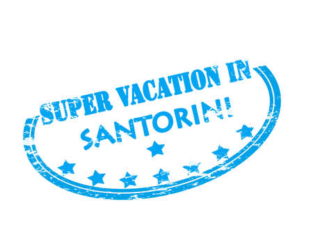 vacancies: Rubber stamp with text super vacation in Santorini inside, vector illustration Illustration