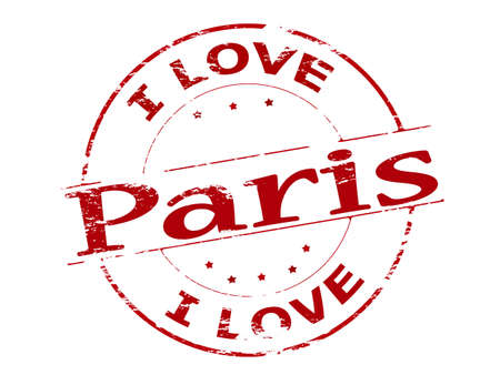 love stamp: Rubber stamp with text i love Paris inside, vector illustration