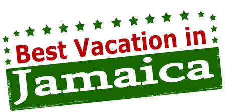 vacancies: Rubber stamp with text best vacation in Jamaica inside, vector illustration