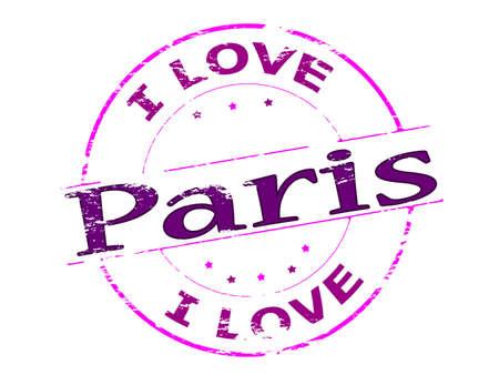 i love paris: Rubber stamp with text i love Paris inside, vector illustration