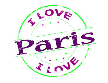 fondness: Rubber stamp with text i love Paris inside, vector illustration