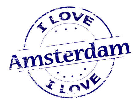amsterdam: Rubber stamp with text i love Amsterdam inside, vector illustration Illustration