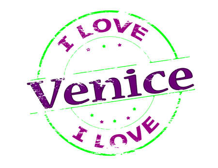 love affair: Rubber stamp with text i love Venice inside, vector illustration Illustration