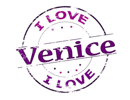 love stamp: Rubber stamp with text I love Venice inside, vector illustration