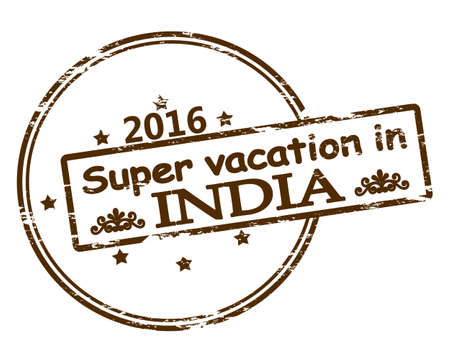 holidays vacancy: Rubber stamp with text super vacation in India inside, vector illustration Illustration