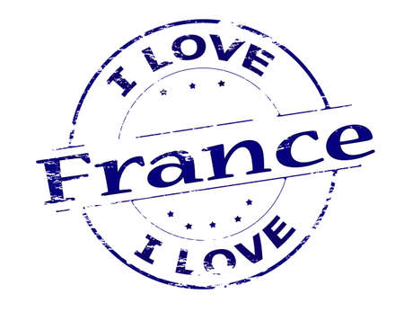 fond: Rubber stamp with text i love France inside, vector illustration