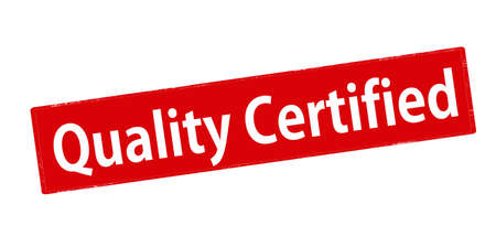 confirmed: Rubber stamp with text quality certified inside, vector illustration