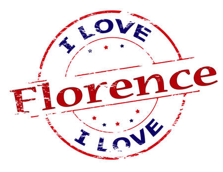 love stamp: Rubber stamp with text i love Florence inside, vector illustration