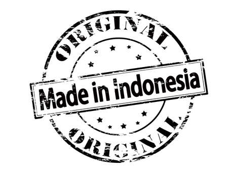 peculiar: Rubber stamp with text made in Indonesia inside, vector illustration