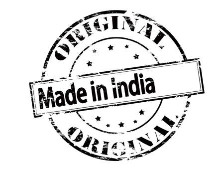 peculiar: Rubber stamp with text made in India inside, vector illustration