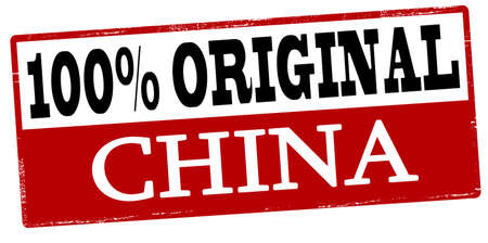 peculiar: Rubber stamp with text one hundred percent original China inside, vector illustration Illustration