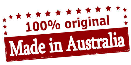 peculiar: Rubber stamp with text made in Australia inside, vector illustration Illustration
